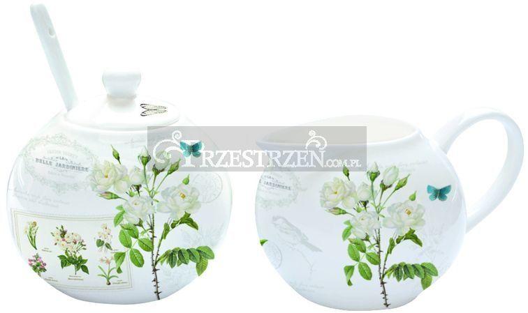 KOMPLET - PORCELANOWA CUKIERNICA I MLECZNIK - Natural - Kwiaty (317 NATU)
