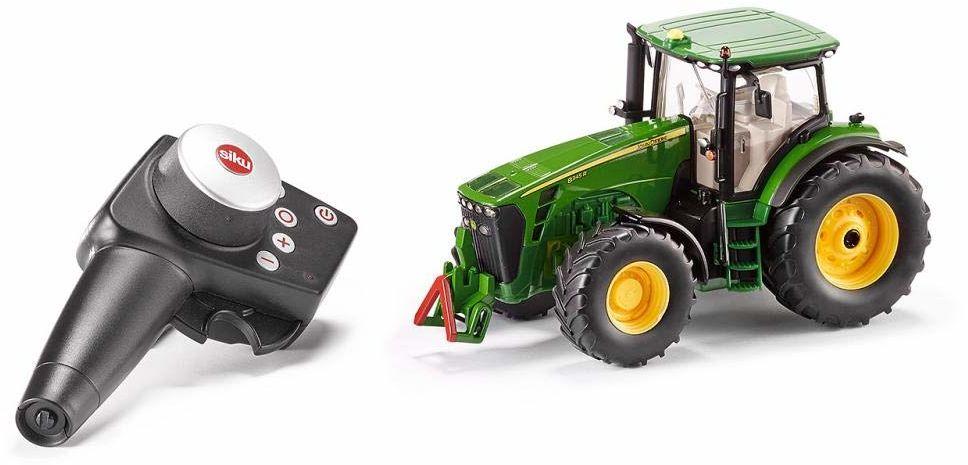 siku 6881, zdalnie sterowany traktor John Deere 8345R, 1:32, w zestawie moduł zdalnego sterowania, metal/tworzywo sztuczne, zielony, zasilany bateriami, kompatybilny z akcesoriami
