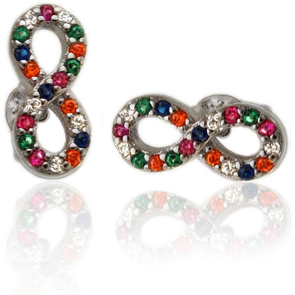 Delikatne rodowane srebrne kolczyki celebrytki nieskończoność infinity kolorowe cyrkonie srebro 925 K2795