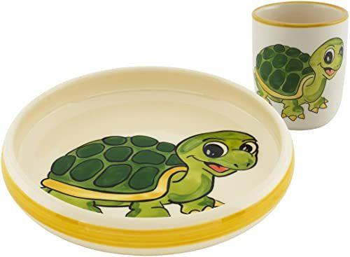 Kuhn Rikon 39553 zestaw dla dzieci żółw, ceramika, talerz, filiżanka, porcelana