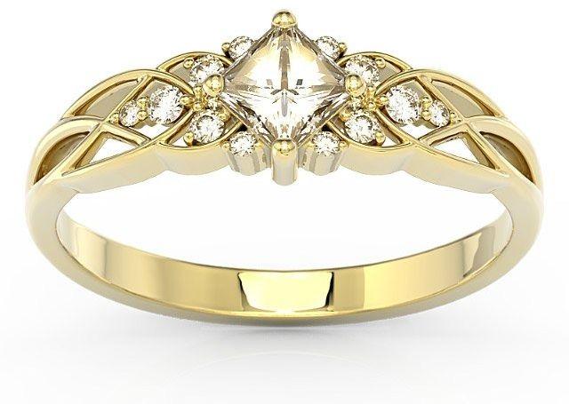 Pierścionek z żółtego złota z topazem swarovski white i diamentami bp-86z