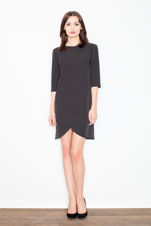 Czarna nietuzinkowa sukienka z dekoltem na plecach