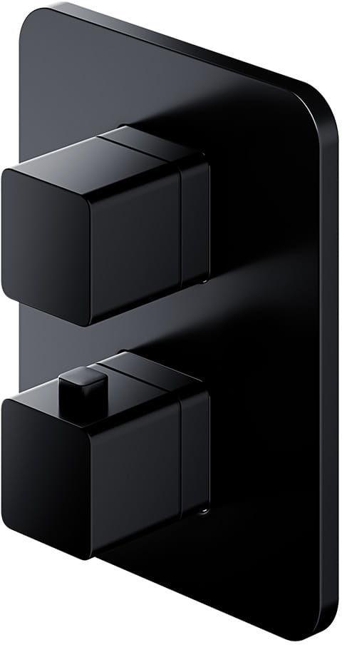 Omnires bateria wannowo-prysznicowa podtynkowa termostatyczna Parma czarna PM7436 BL