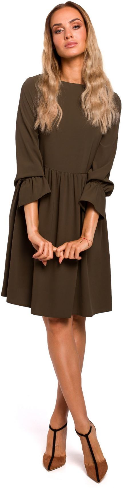 M465 Sukienka z rękawami z falbanką - khaki