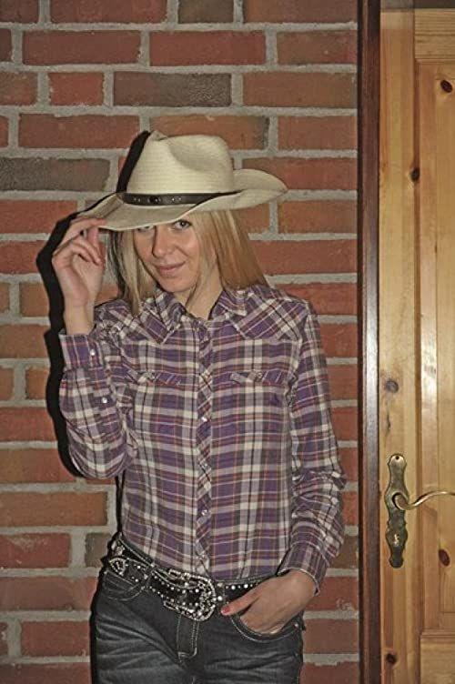 HKM Bluzka damska bluzka westernowa, modna fioletowy Lila/Karo L