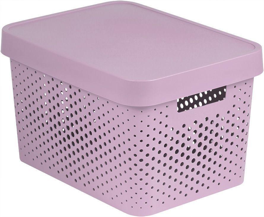 Pudełko do przechowywania z plastikową pokrywką 17 l - różow