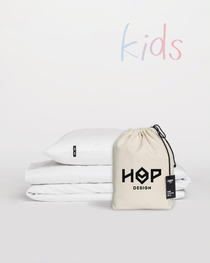 Pościel Perkal 90x120 Hop Design Kids Pure Biały
