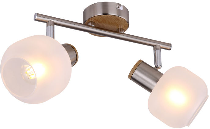 Globo LOGGI 54302-2 spot oprawa oświetleniowa nikiel mat imitacja drewna 2xE14 40W 25cm