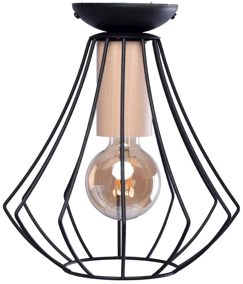 Milagro WILL BLACK MLP4189 plafon lampa sufitowa czarny koszyk metal drewno 1xE27 27cm