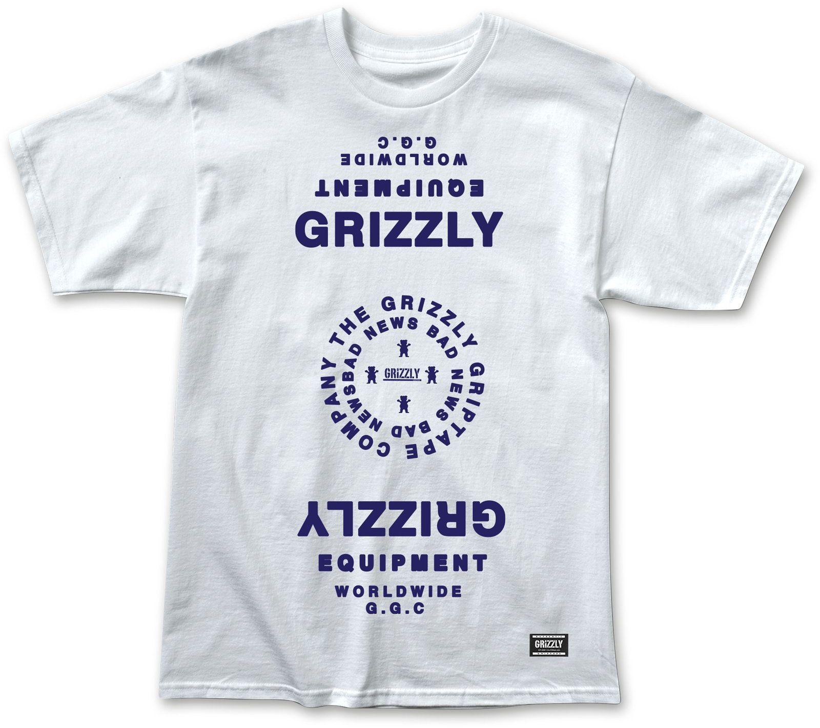t-shirt męski GRIZZLY MIRRORED TEE White