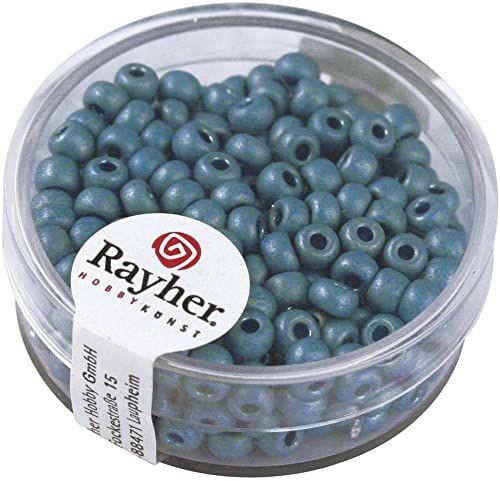 Rayher 14316404 Metaliczne koraliki Rocailles, matowe, 4 mm, puszka 17 g, turkusowe
