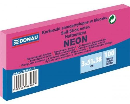 Karteczki samoprzylepne DONAU 38x51mm neonowy różowy (3szt) 7585011-16