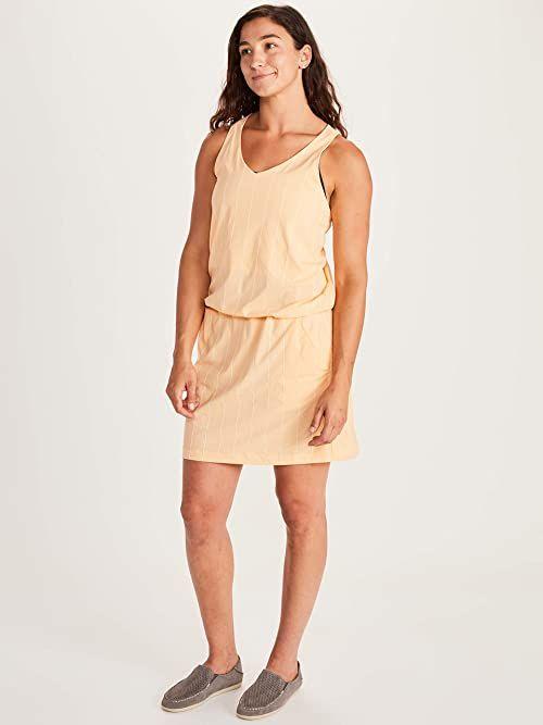 Marmot Damska sukienka Wm''s Gretchen, oddychająca sukienka do kolan, z szelkami i ochroną przeciwsłoneczną LSF 50, szybkoschnąca i idealna w podróży pomarańczowa Sweet Apricot XL