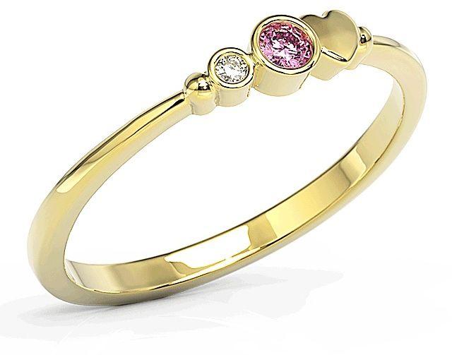 Pierścionek z żółtego złota z cyrkoniami swarovski różową i białą bp-6807z-c