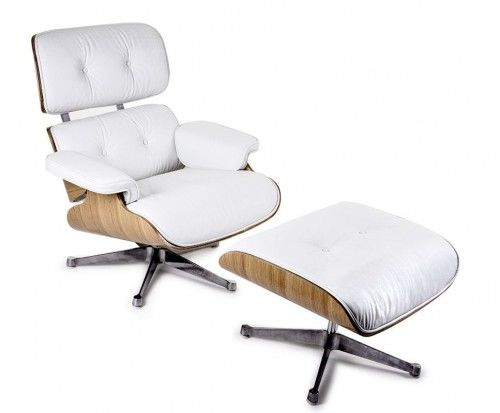 Fotel z podnóżkiem Biała Skóra Naturalna Inspirowany Projektem Lounge Chair