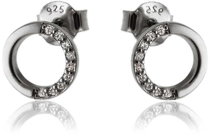 Delikatne rodowane srebrne kolczyki kółka circle ring białe cyrkonie srebro 925 K2831