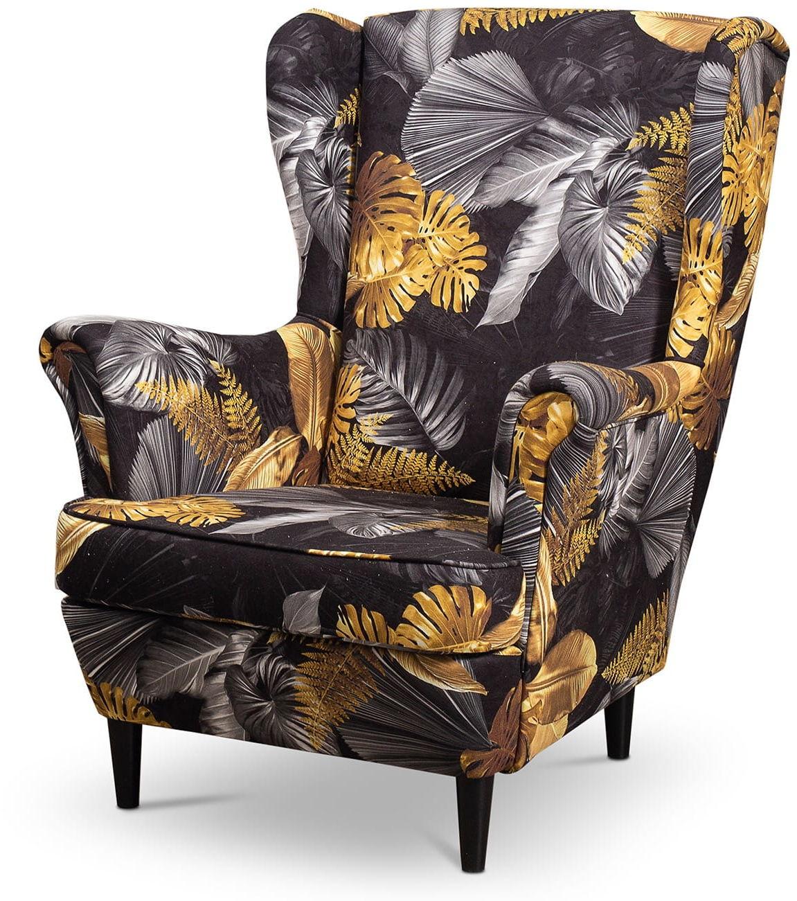 Fotel uszak Lily Kwiaty w stylu skandynawskim