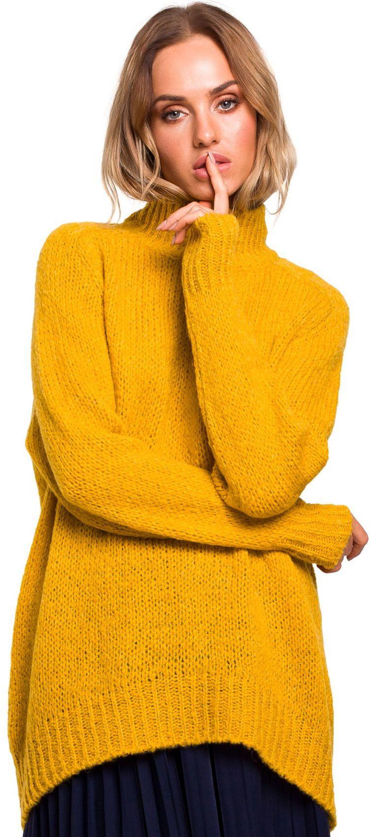 M468 Sweter półgolf z asymetrycznym dołem - miodowy