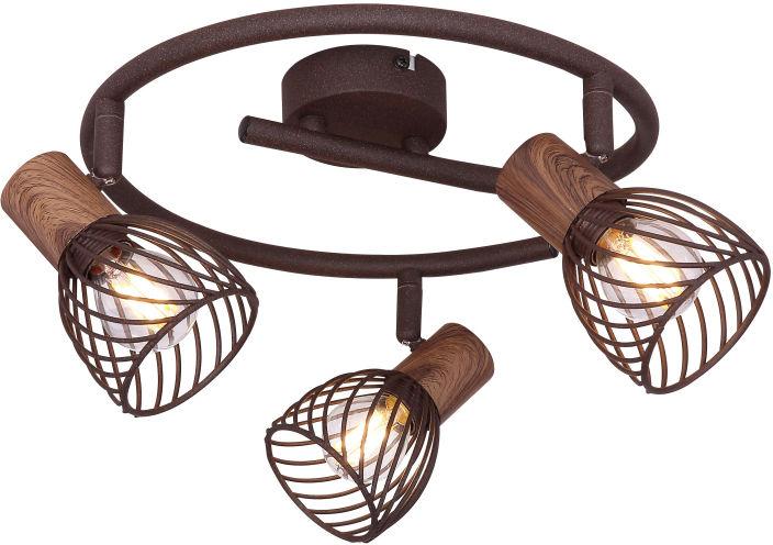 Globo ISABELLE 54817-3 plafon lampa sufitowa rdzawy drewno brąz spot 3xE14 40W 28cm