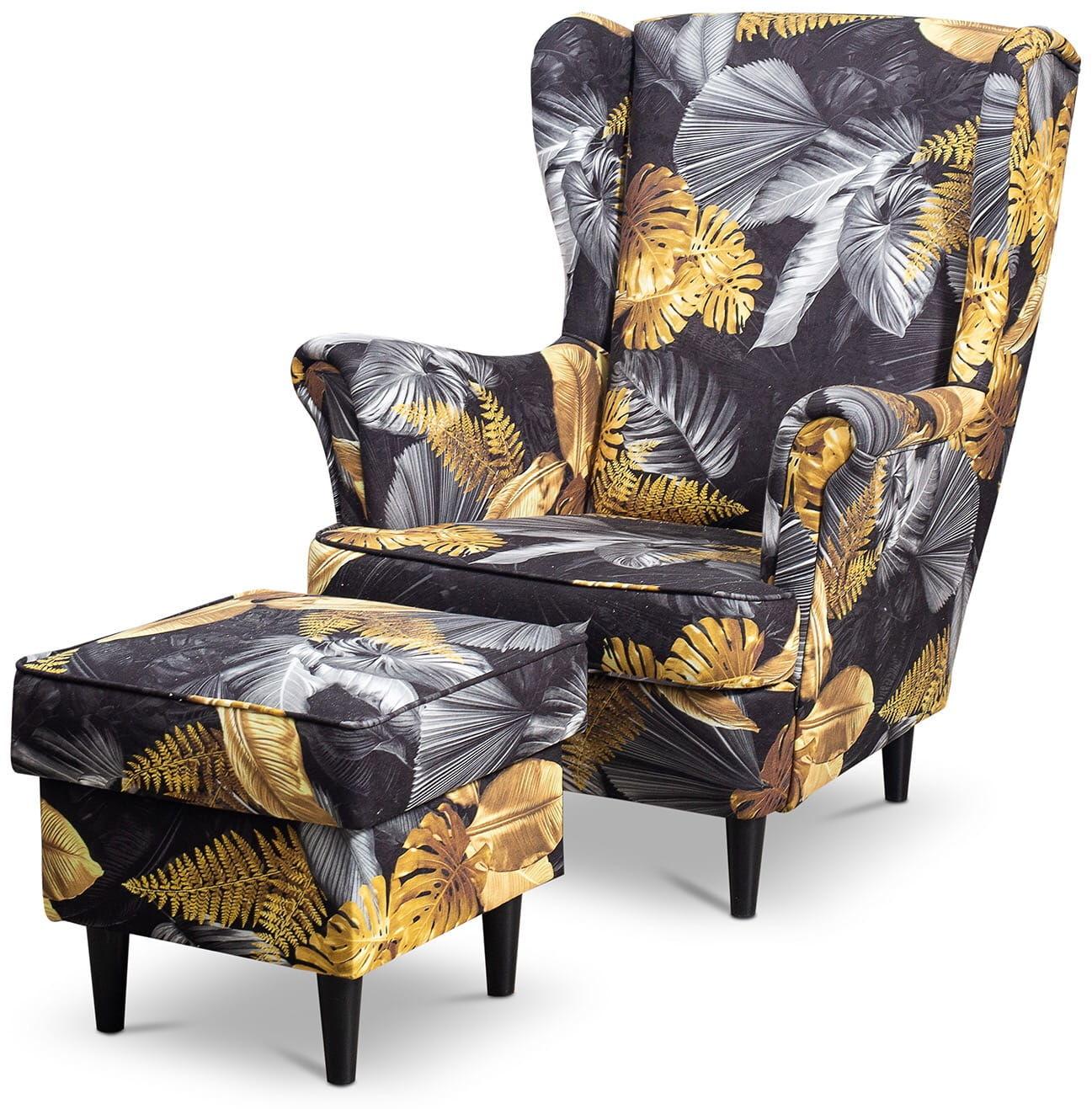 Fotel uszak Lily Kwiaty z podnóżkiem w stylu skandynawskim