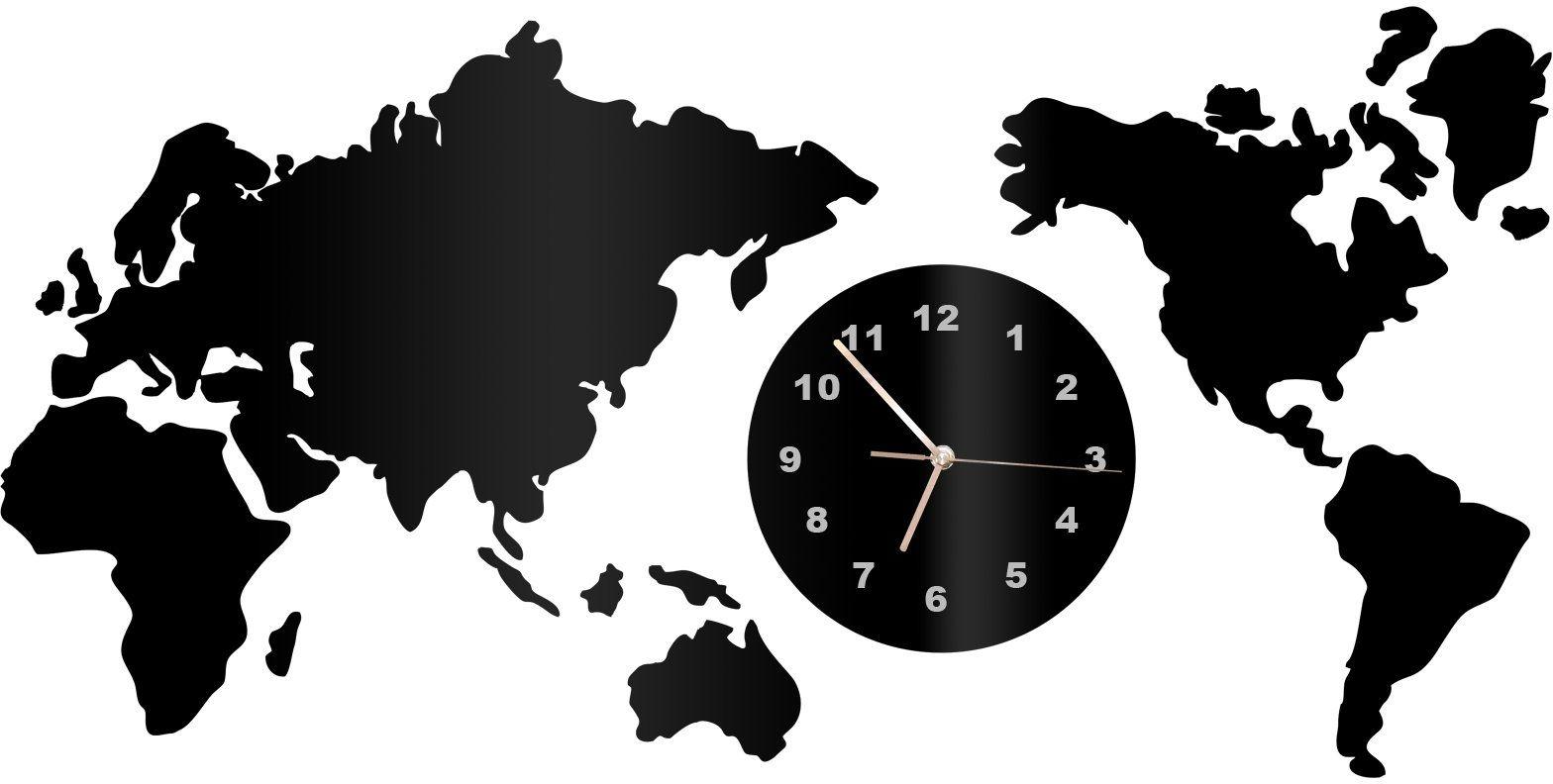 Zegar z pleksi na ścianę Mapa świata ze złotymi wskazówkami