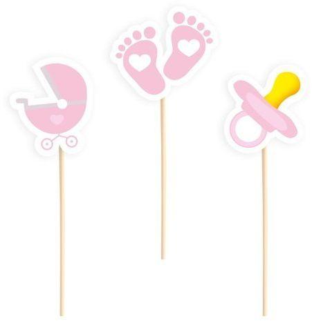 Dekoracje do muffinek na Baby Shower różowe 6 sztuk 512288