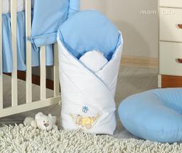MAMO-TATO Rożek niemowlęcy usztywniony z haftem Miś w hamaku w błękicie