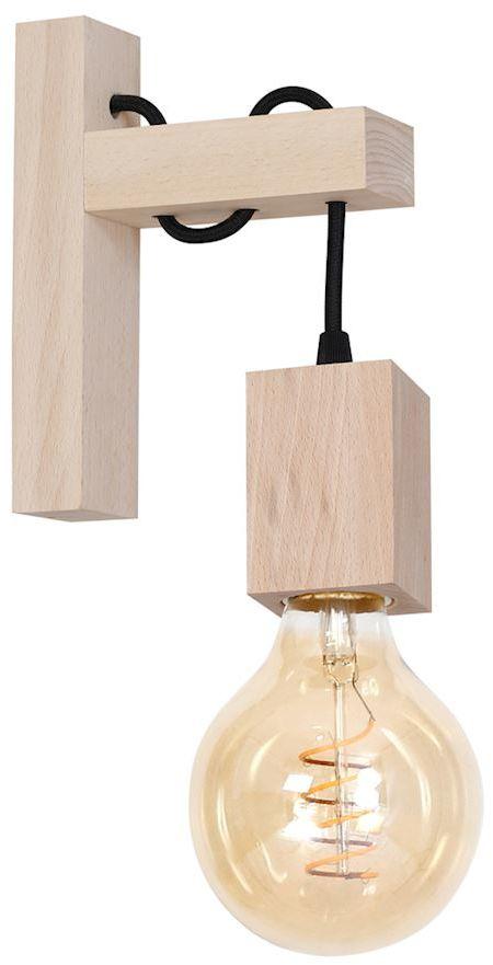 Milagro JACK MLP581 kinkiet lampa ścienna żarówka zamocowana w drewnianej oprawce styl rustykalny 1xE27 22cm