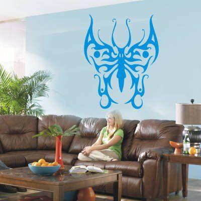 INDIGOS 4052166190510 tatuaż ścienny w967 Tribal piękne motyle naklejki ścienne 120 x 94 cm, niebieski