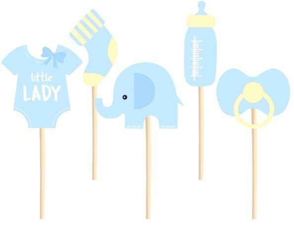 Dekoracje do muffinek na Baby Shower Słonik błękitne 5 sztuk 511831
