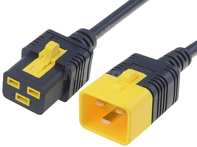 Kabel IEC C19 żeński, IEC C20 męski 2m z blokadą czarny PVC serwerowy