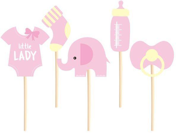 Dekoracje do muffinek na Baby Shower Słonik różowe 5 sztuk 511827
