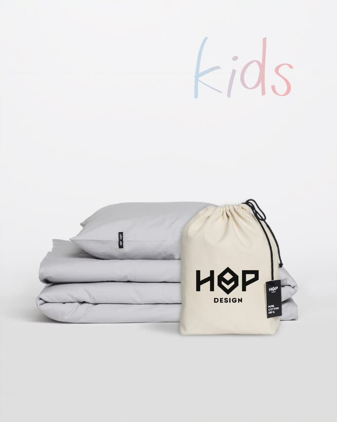 Pościel Perkal 90x120 Hop Design Kids Pure Jasny Szary