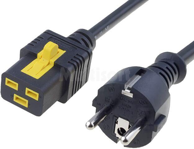 Kabel CEE 7/7 (E/F) wtyk, IEC C19 żeński 2m z blokadą czarny serwerowy