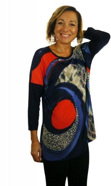 Bluzka, kimono, rękaw 3/4, wzór z przodu, Kreator Studio Mody, rozmiar 48