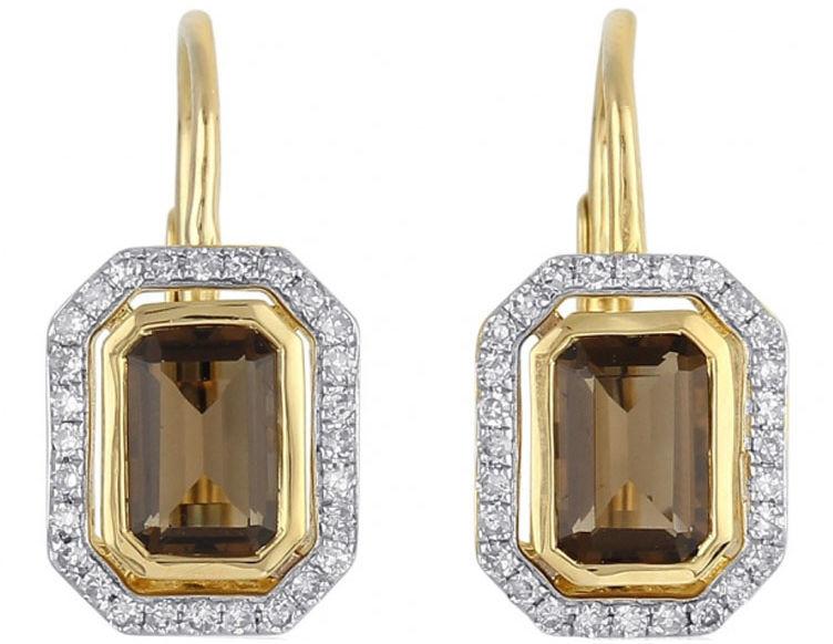Złote kolczyki 585 z diamentami i kwarcem dymnym