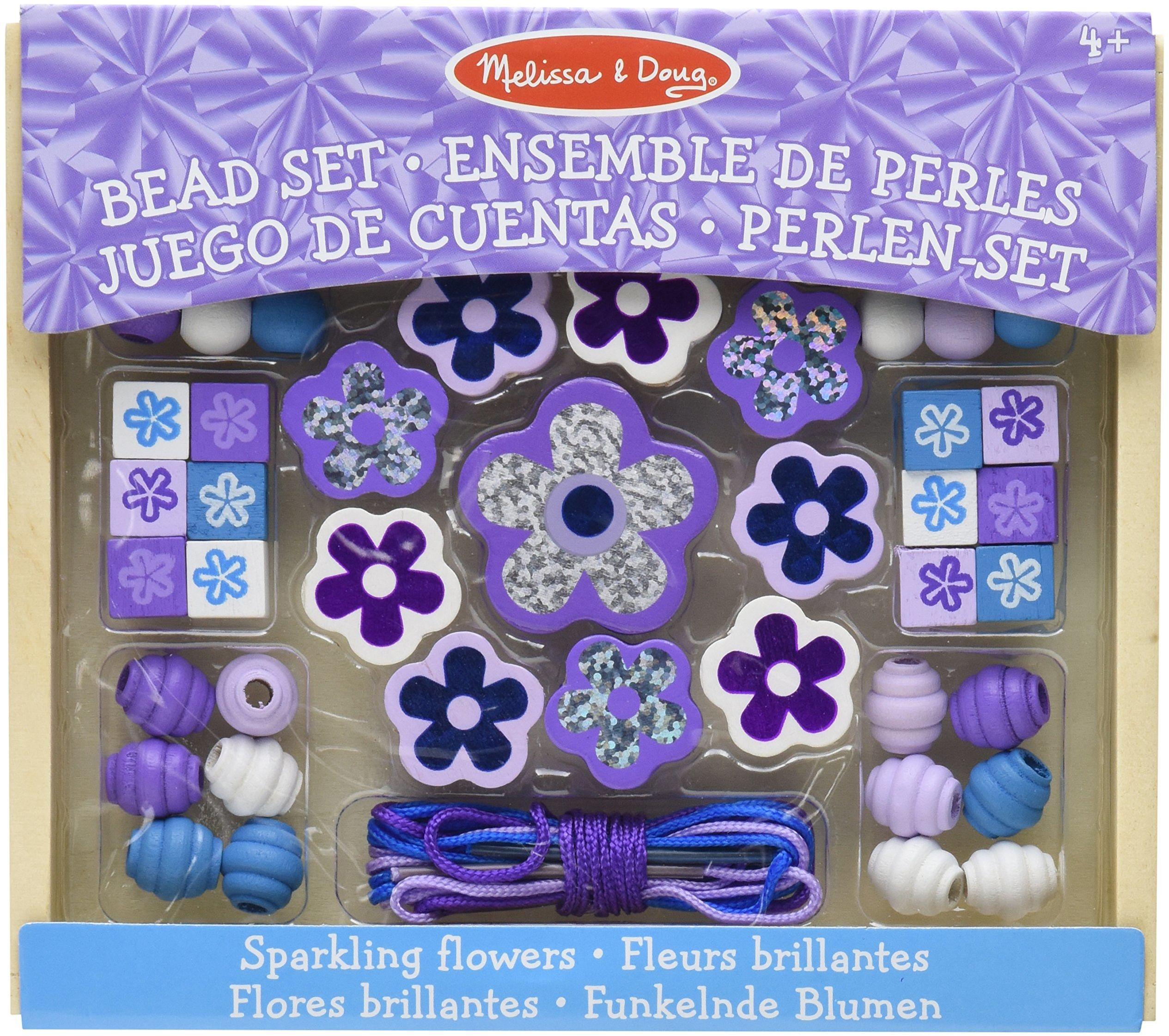 Melissa & Doug Zestaw drewnianych koralików z błyszczącymi kwiatami Sztuka i rzemiosło DIY 4+ Prezent dla chłopca lub dziewczynki