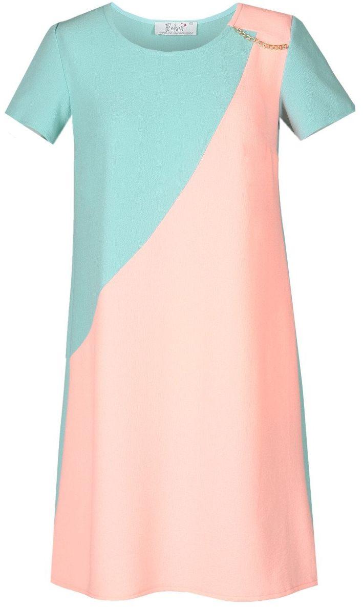 Sukienka FSU667 TURKUSOWY + ŁOSOSIOWY