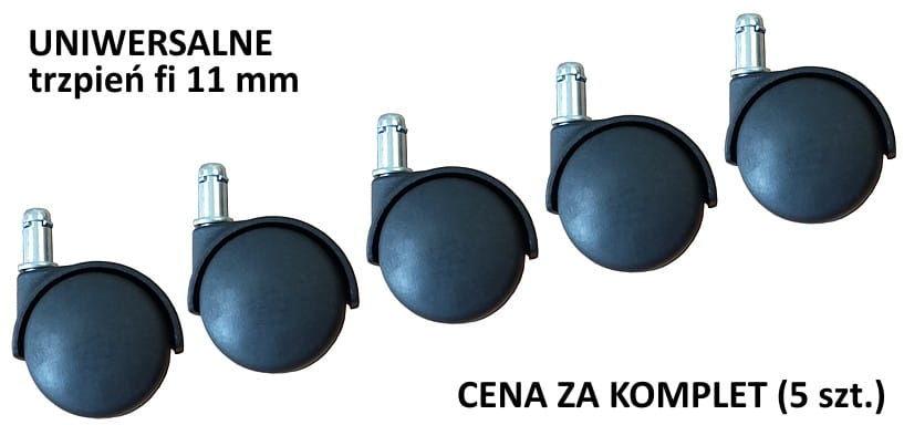 Uniwersalne kółka do krzesła lub fotela - trzpień o śr. 11 mm