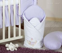 MAMO-TATO Rożek niemowlęcy usztywniony z haftem Miś w hamaku w fiolecie
