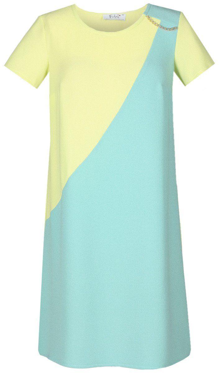 Sukienka FSU667 LIMONKA + TURKUSOWY