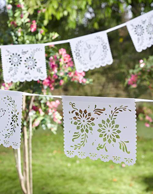 Stoły do rozmów BOHOBR WHT bohema dekoracje papierowe chorągiewki girlanda biała, 4 metry na urodziny boho, chrzest, ślub, przyjęcie zaręczynowe, prysznic ślubny lub rocznicę