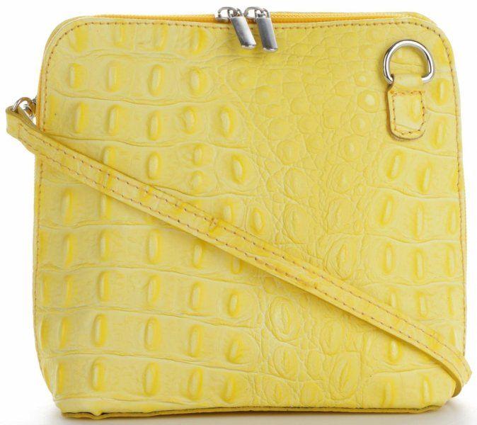 Torebki Skórzane Listonoszki wzór krokodyla Genuine Leather Made in Italy Limonka (kolory)