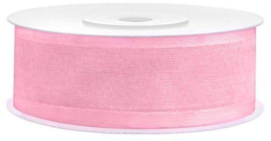 Tasiemka szyfonowa z lamówką 25mm j. różowa TSZB25-081J