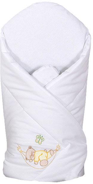 MAMO-TATO Rożek niemowlęcy usztywniony z haftem Miś w hamaku w bieli