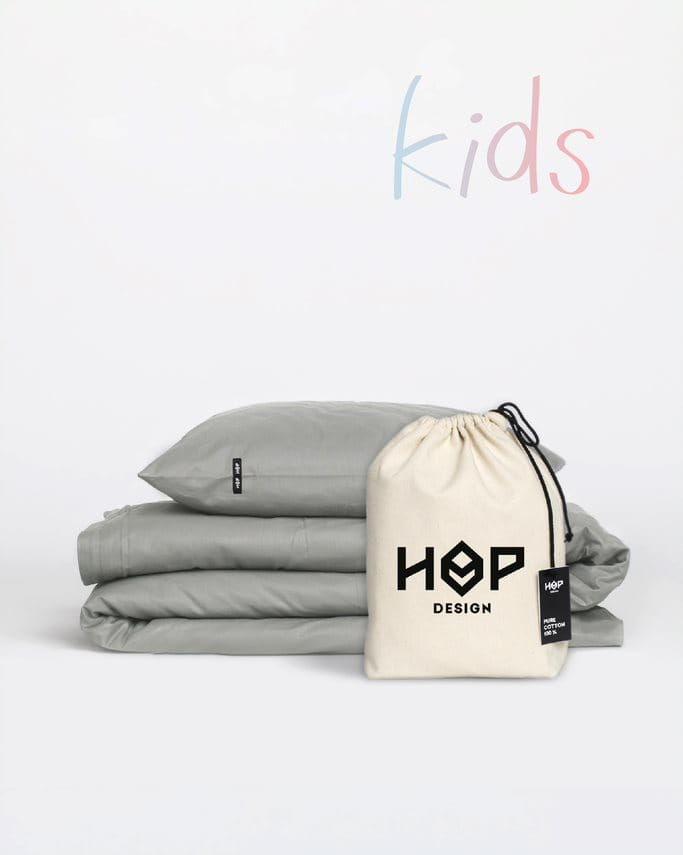 Pościel Perkal 90x120 Hop Design Kids Pure Ciemny Szary