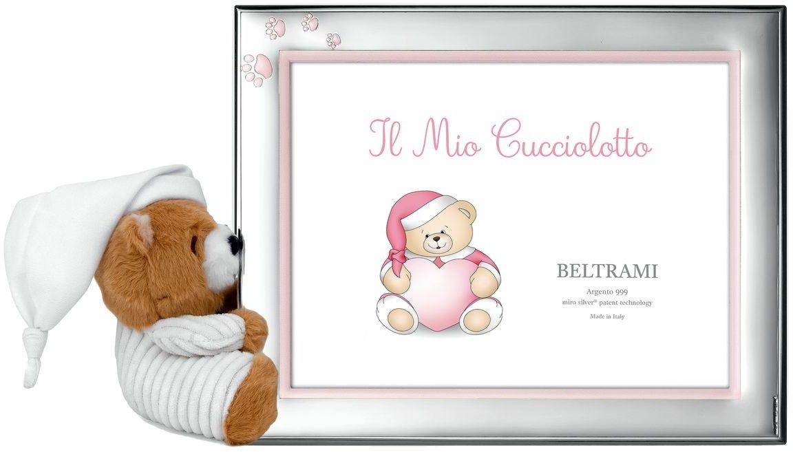 Ramka dziecięca z łapkamii i pluszowym misiem Rozmiar: 10x15 cm Kolor: Różowy SKU: BC3838/3XR