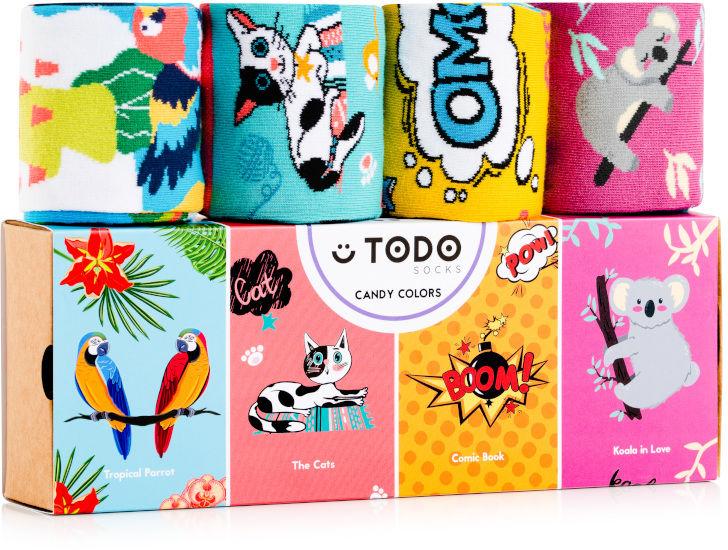 Zestaw kolorowych skarpet CANDY COLORS - Koala, Koty, Papugi, Komiks - 4 pary