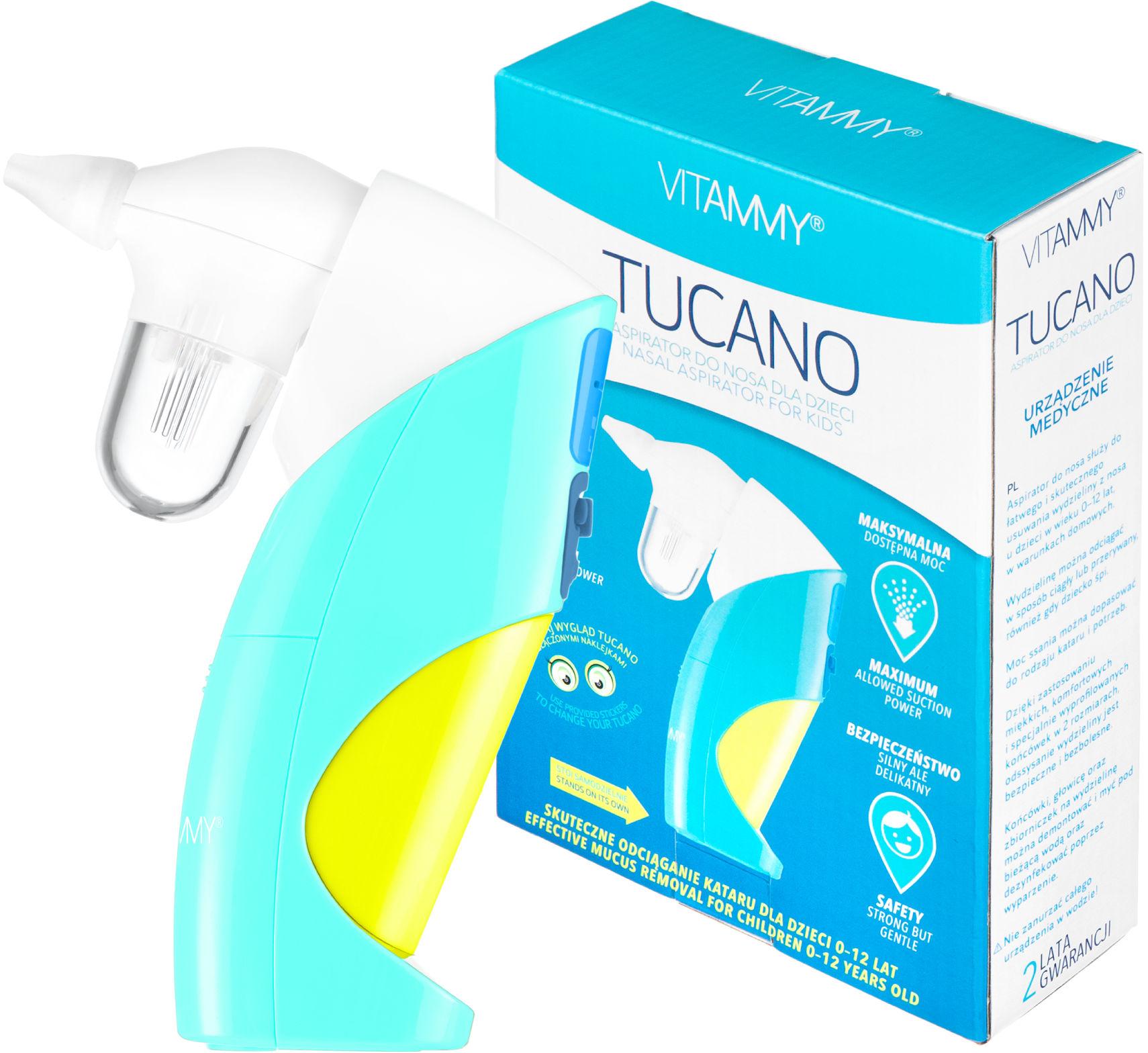 VITAMMY Tucano Aspirator do nosa dla dzieci (odciągacz kataru) z regulacją mocy ssania