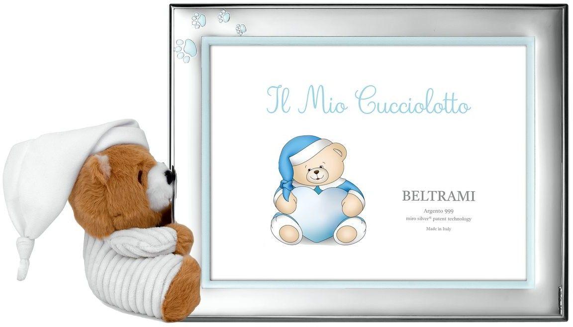 Ramka dziecięca z łapkamii i pluszowym misiem Rozmiar: 10x15 cm Kolor: Niebieski SKU: BC3838/3XC